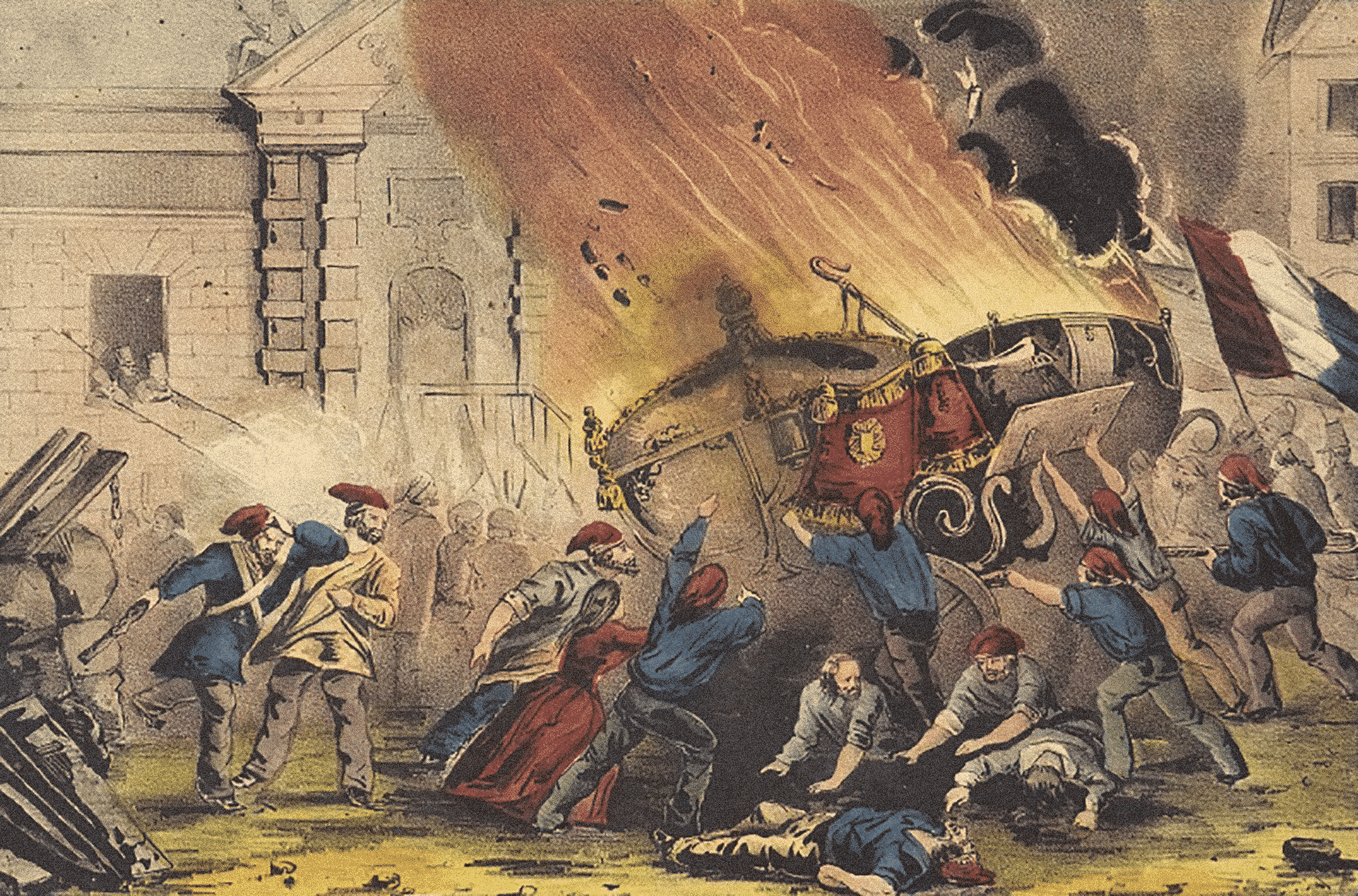 The burning of the royal carriage during the French revolution of 1848 by Nathaniel Currier