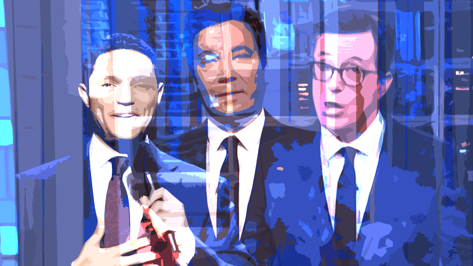 Not independent content creators: late night show hosts Stephen Colbert, Trevor Noah and Jimmy Fallon