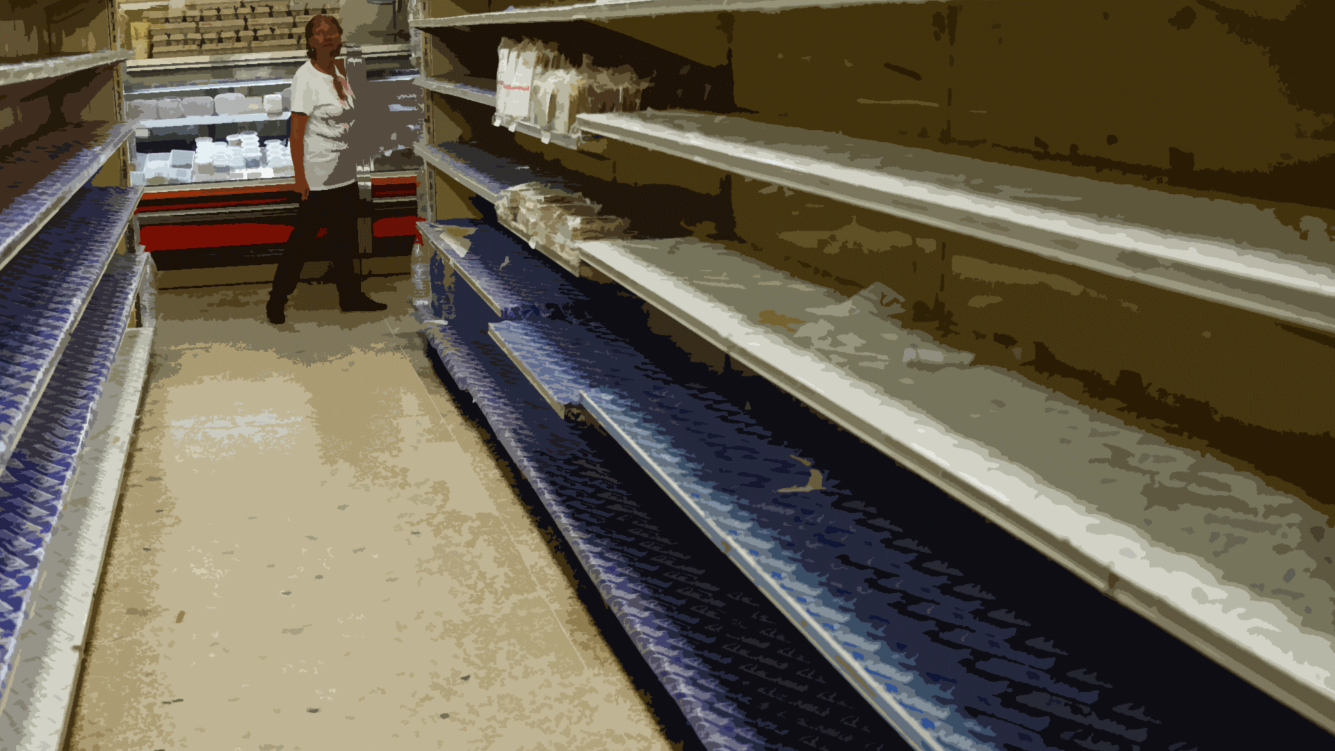 Empty shelves in a Venezuelan grocery