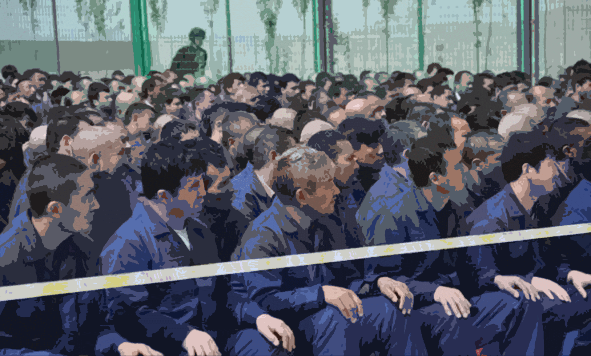 "Uyghur prisoners in a Chinese ""vocational education center""."