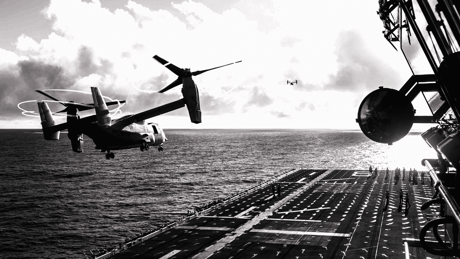 A Marine Corps MV-22B Osprey takes off from the USS Makin Island in the Pacific Ocean, Dec. 4, 2019.