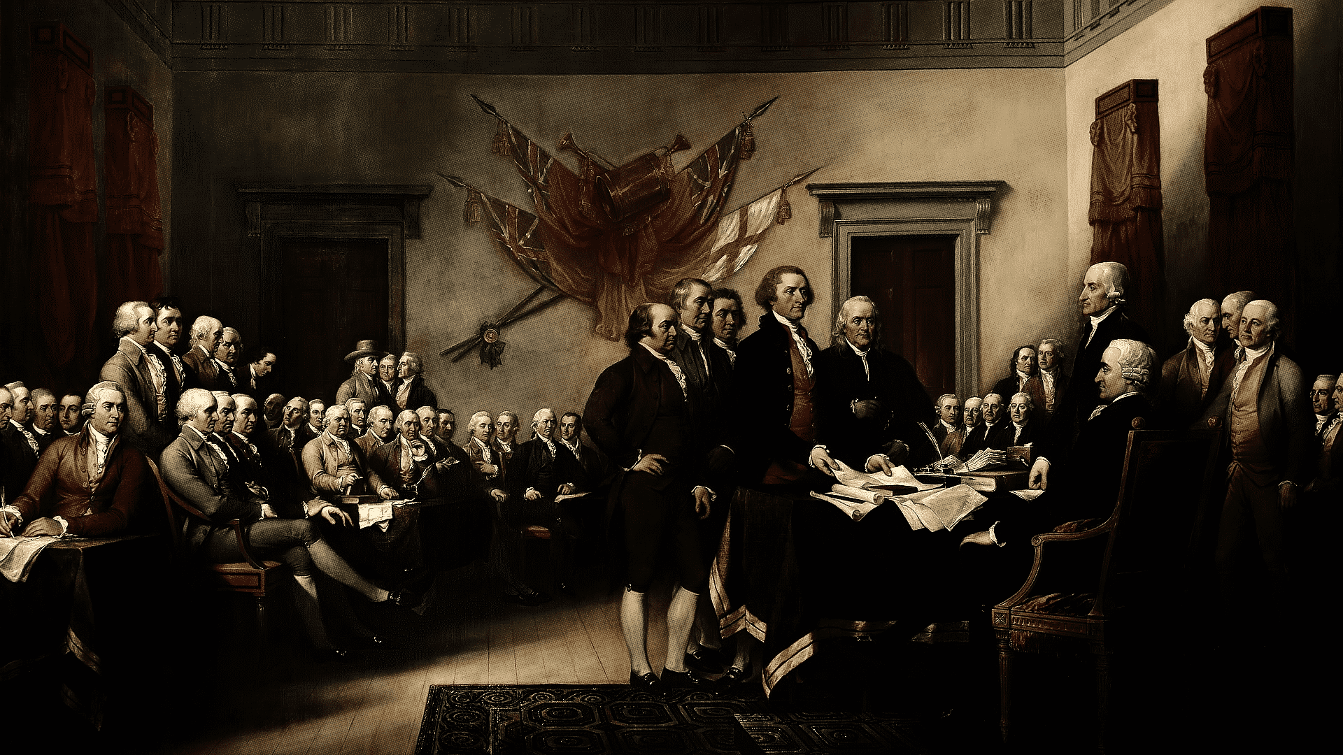 John Trumbull's painting, Declaration of Independence, depicting the five-man drafting committee of the Declaration of Independence presenting their work to the Congress.