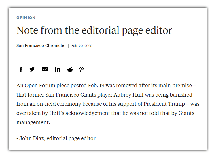 San Francisco Chronicle editorial note.