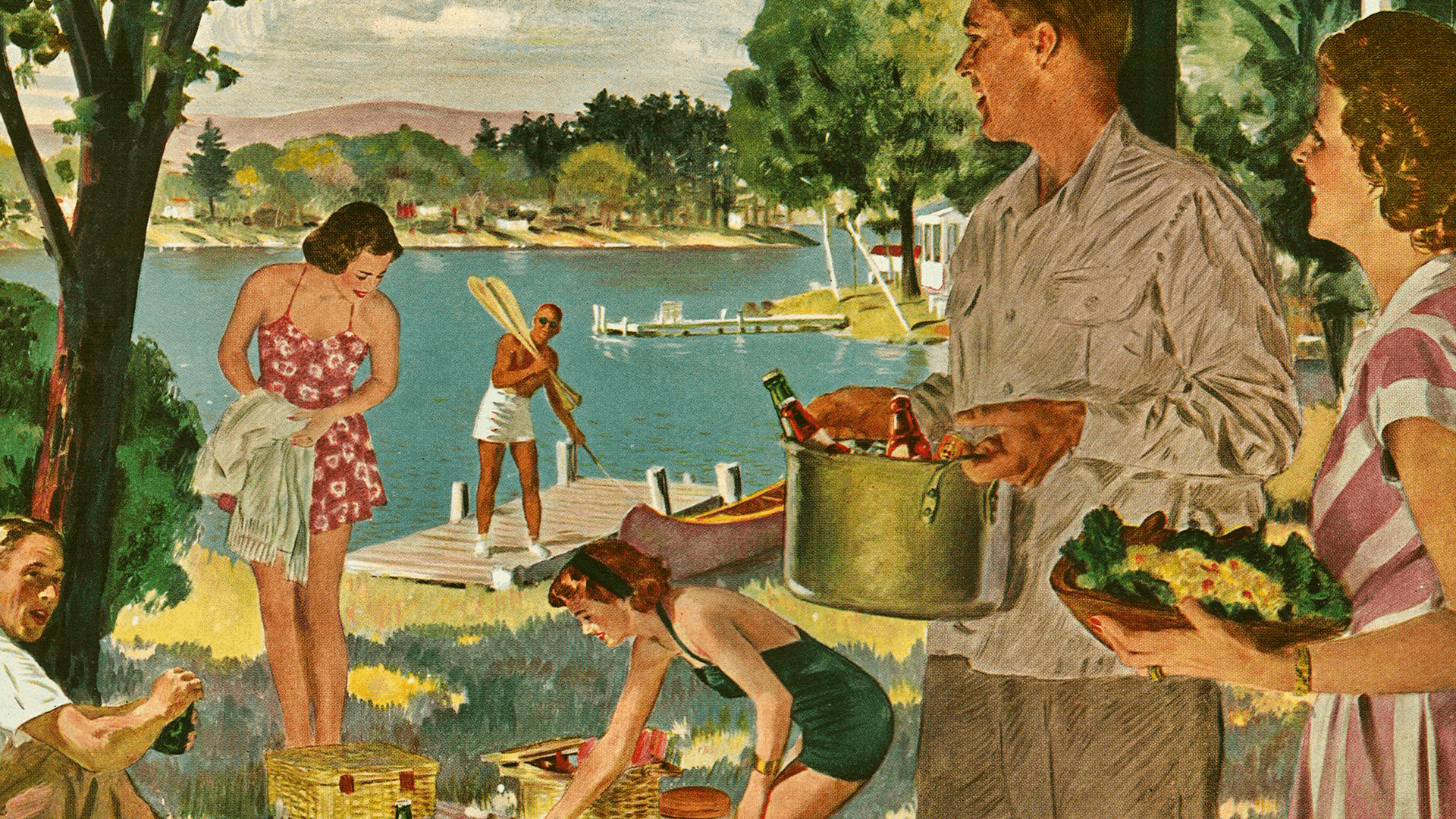 """Week-end at the Lake,"" by Douglass Crockwell, Home Life in America / Traditional women / Tradwife"