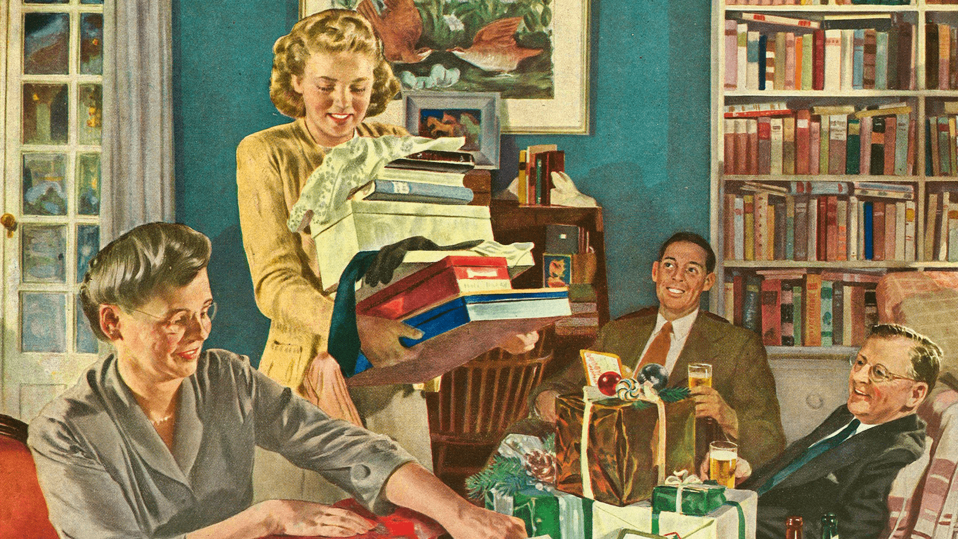 """Getting Ready for Christmas"" by Douglass Crockwell, Home Life in America"