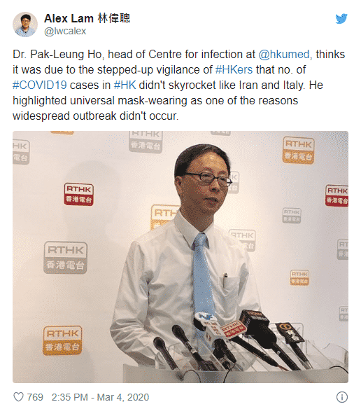 """Hong Kong health officials credit universal mask wearing for easing their outbreak and recommend universal mask use."""