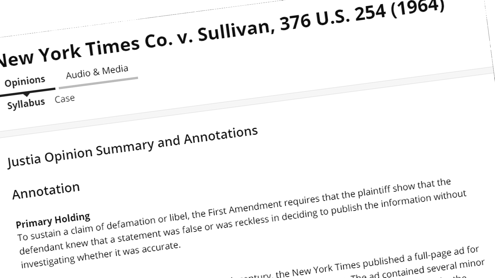 New York Times v. Sullivan.