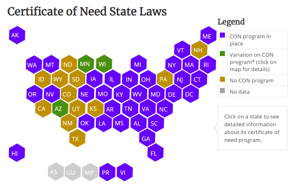 Map of State CON Laws