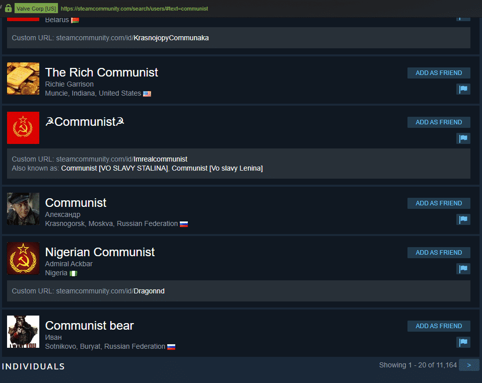 Communists on Steam.