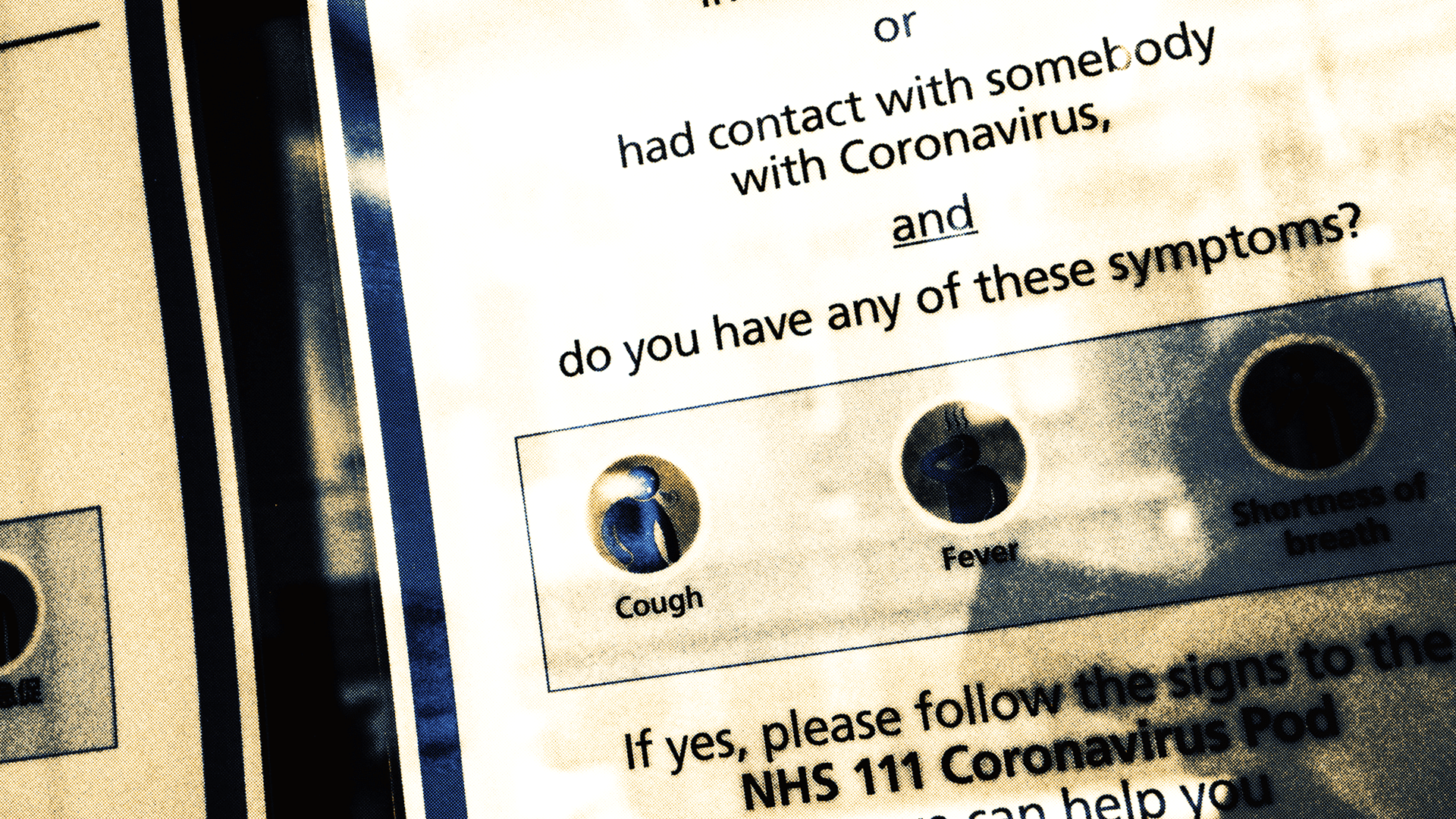 National Health Service (NHS) coronavirus advisory.