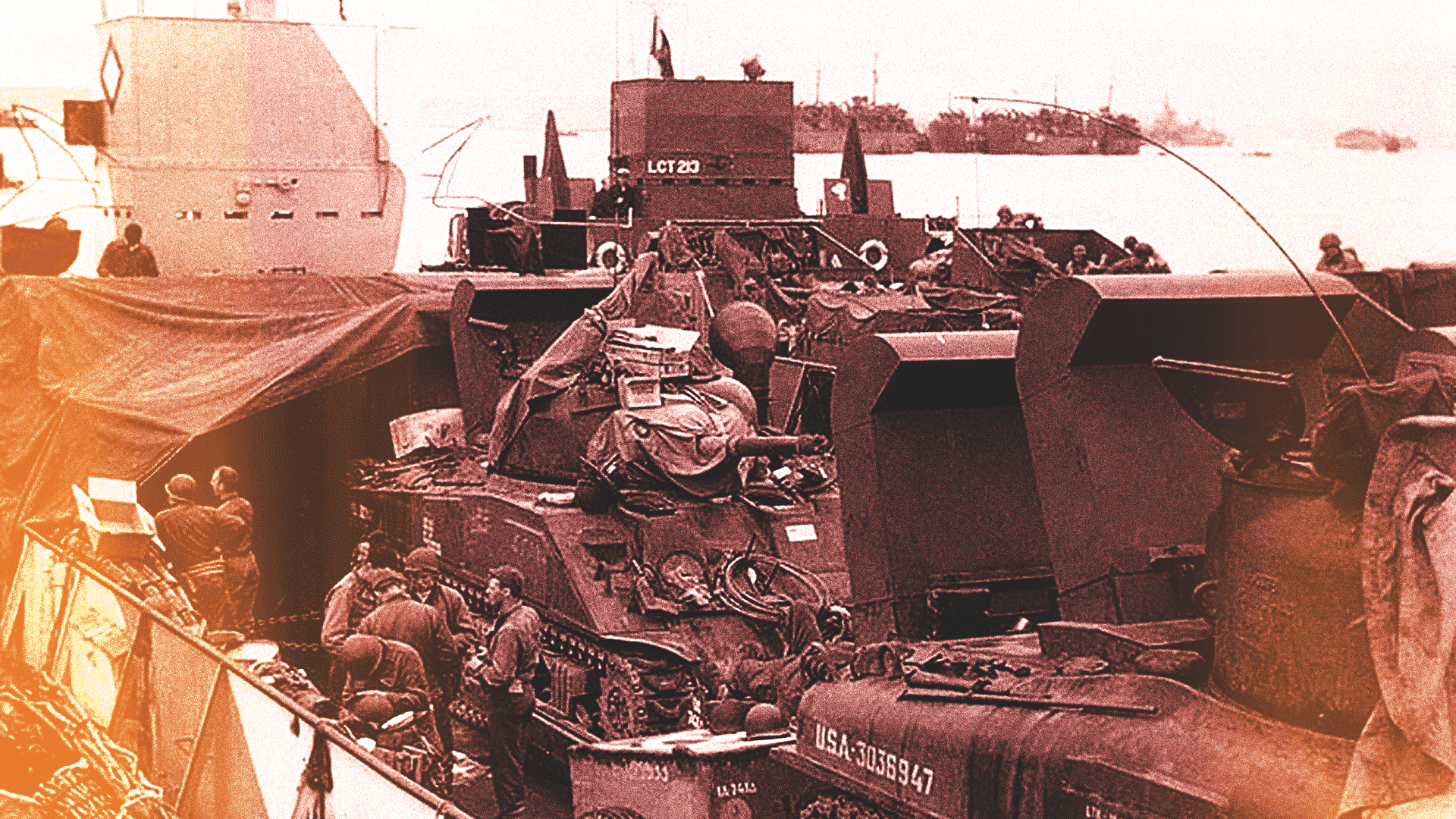 US Army M4 Sherman tanks loaded in a landing craft tank (LCT), ready for the invasion of France, c. late May or early June 1944