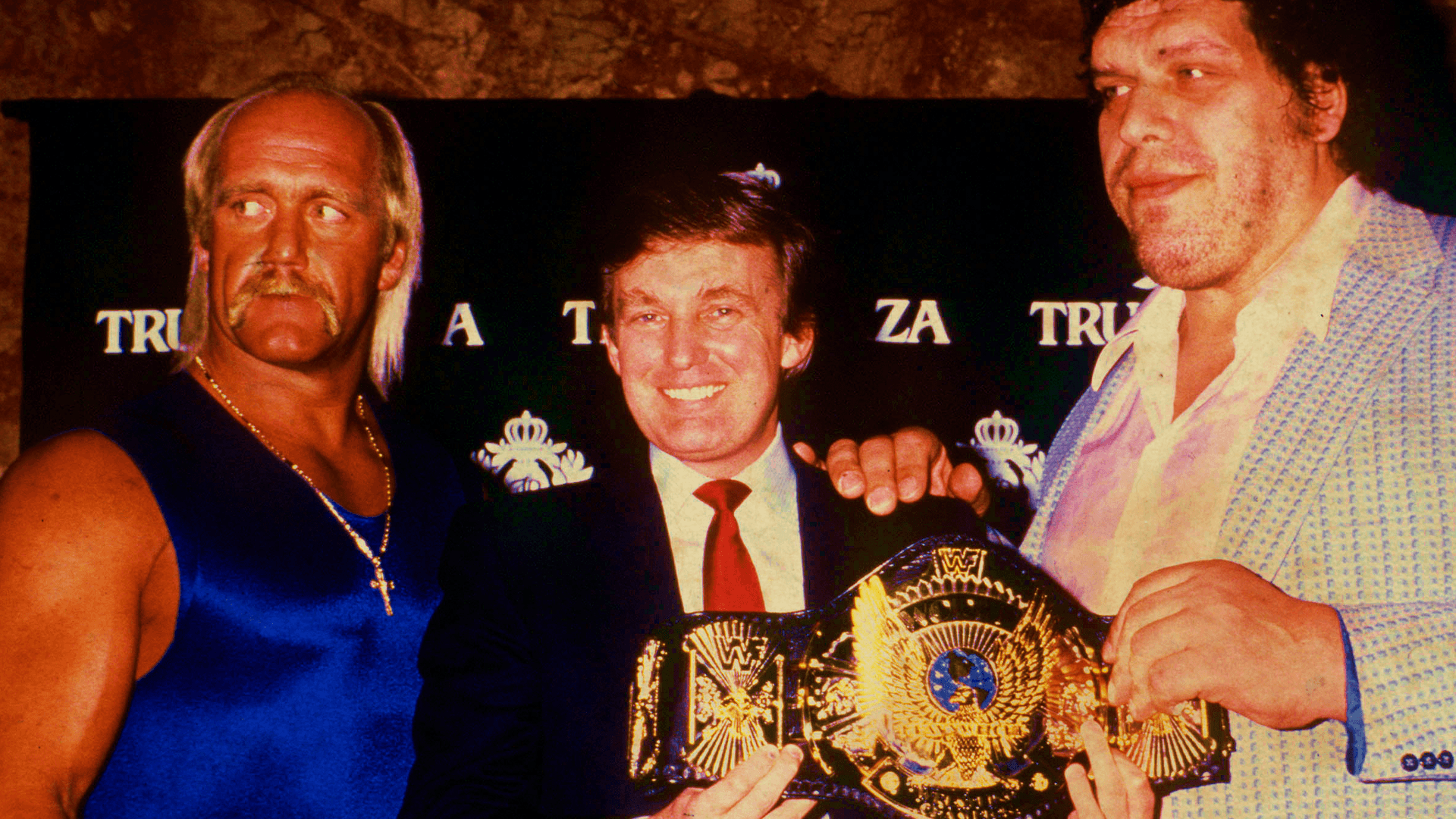 Donald Trump meets Hulk Hogan and Andre the Giant