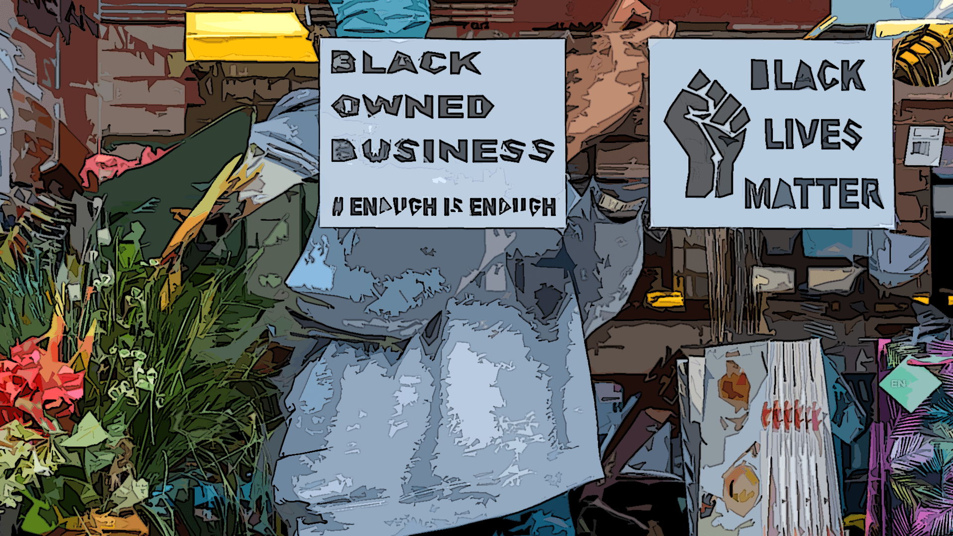 """""""Black Owned Business"""" sign."""