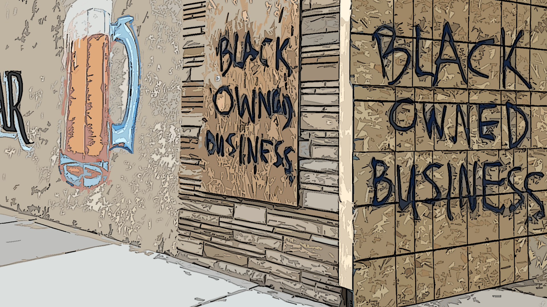 Boarded up business.