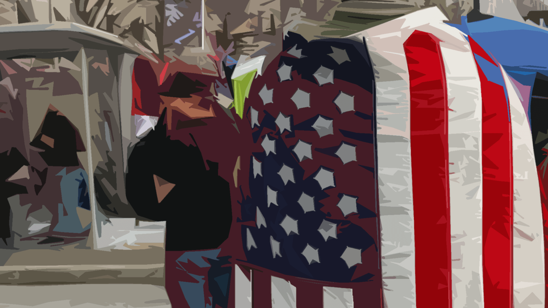 Man with American flag draped around his shoulders.