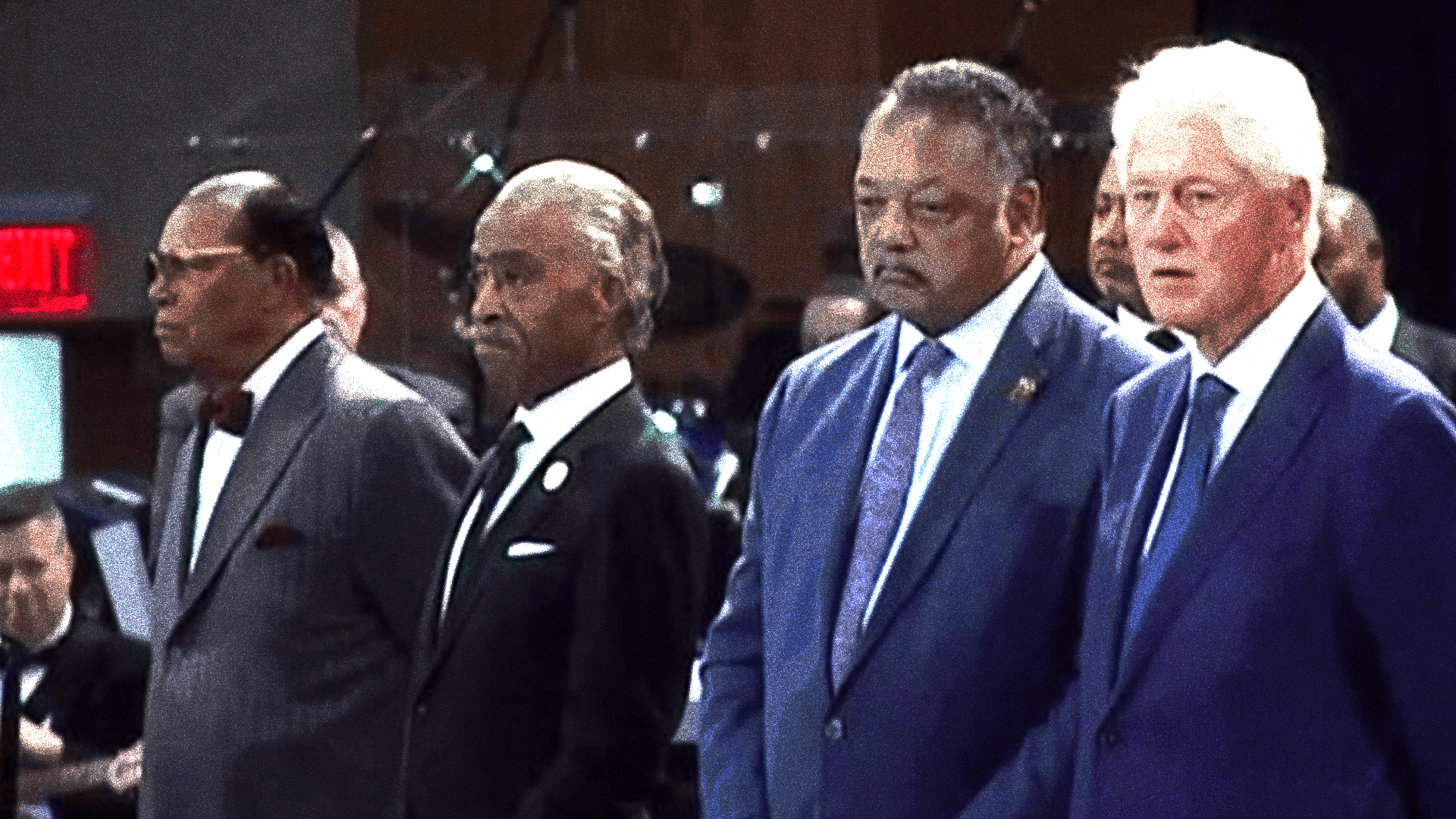 From left: Louis Farrakhan, Al Sharpton, Jesse Jackson, and former President Bill Clinton at the funeral service for Aretha Franklin in Detroit, Michigan, August 31st, 2018.