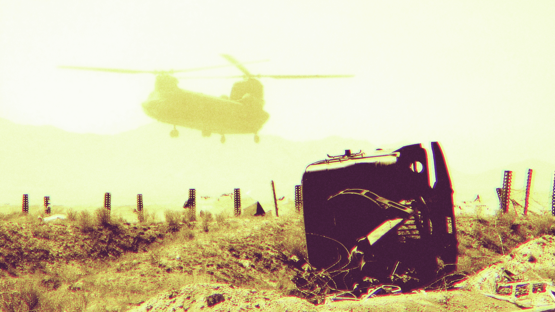 U.S. Chinook military helicopter in Afghanistan.