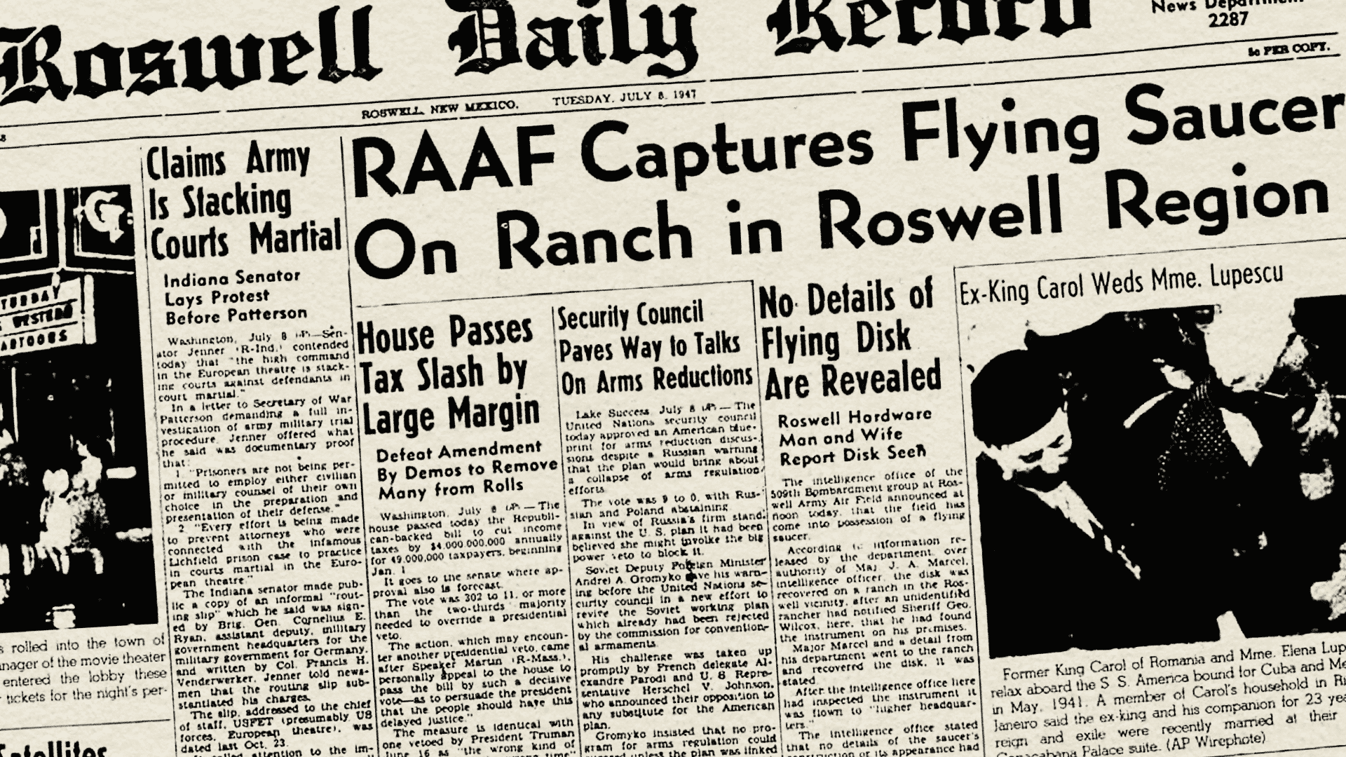 Roswell Daily Record report on UFO crash.