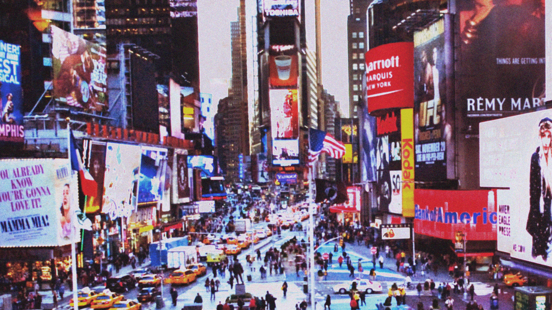 Times Square in New York City, 1990s.